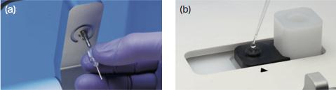 (a) 使用の際は、Protein Aや抗体等が固定化されたバイオセンサーチップをアームに取り付ける。(b) サンプル溶液4μlをサンプルホルダーにセットし、アームを下ろせば測定が始まる。